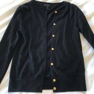 Black J Crew wool cardigan with gold buttons - XS